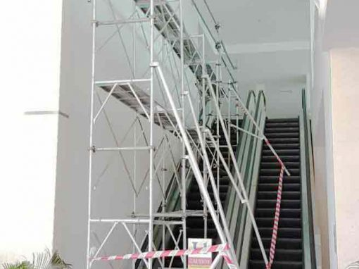 Scaffolding projects on escalator