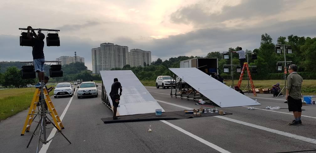 Scaffold-based motocross ramps for film shooting at Putrajaya