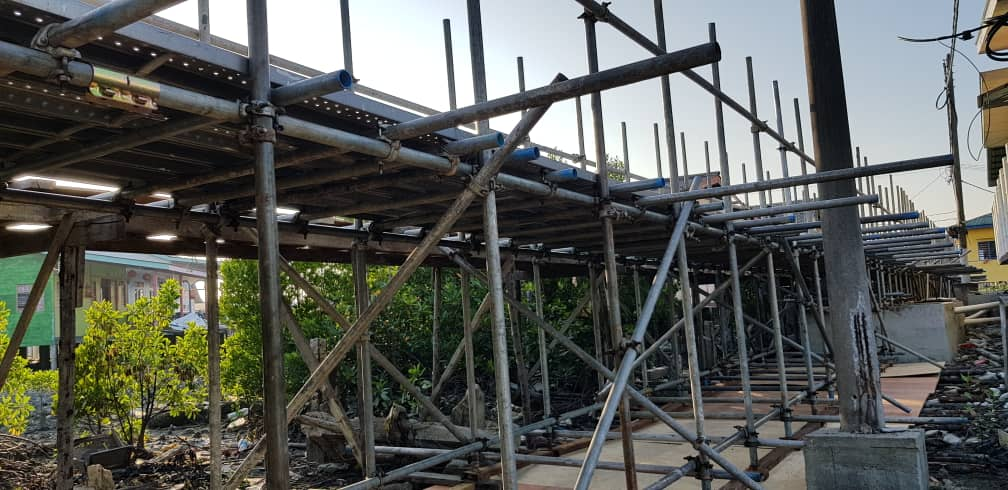 TNB Project at Pulau Ketam – 54m Long Heavy duty scaffold bridge on swampy ground